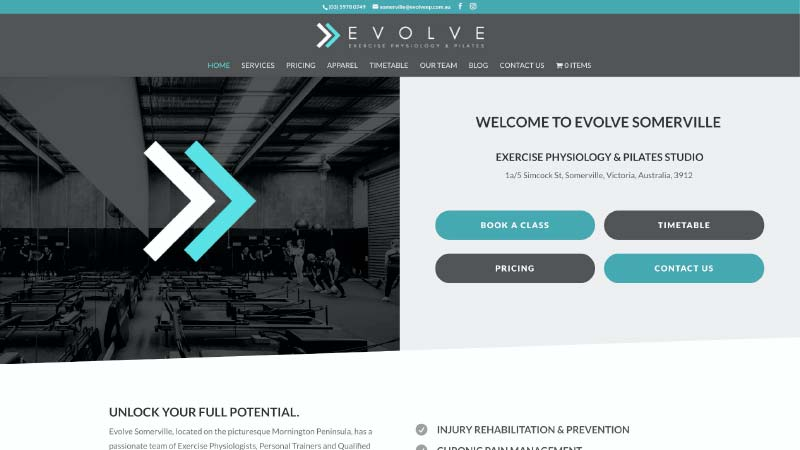Evolve Exercise Physiology Website Screenshot