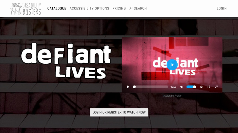 The Disability Busters film catalogue page with Defiant Lives featured in the top image section.